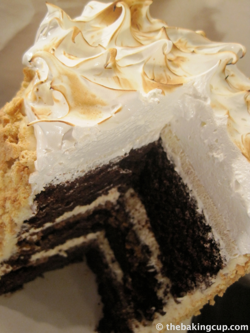 unbelievable s'mores layer cake by the baking cup