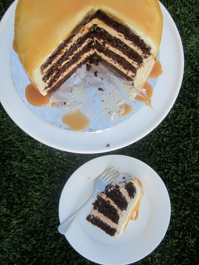 chocolate salted caramel layer cake by the baking cup