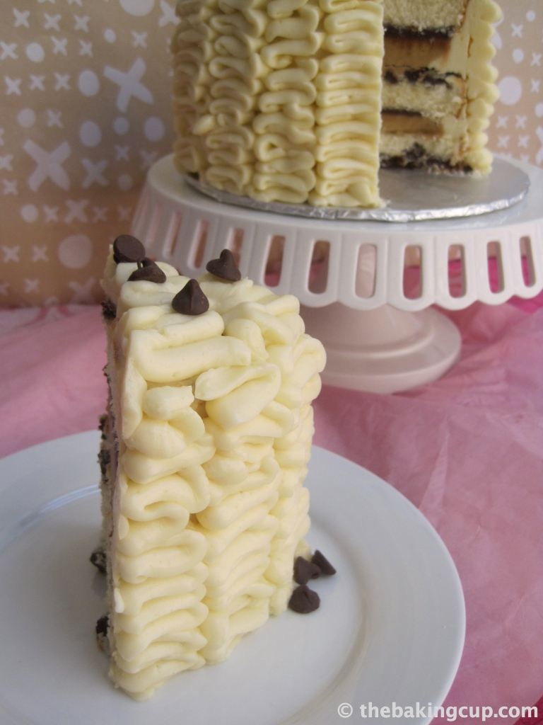 cookie dough overload layer cake by the baking cup